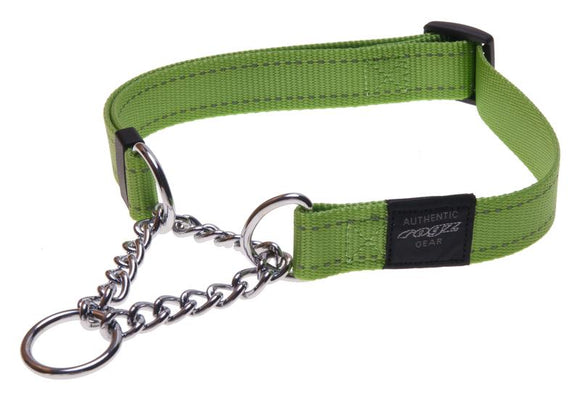 Rogz Utility Extra Large 25mm Lumberjack Obedience Half-Check Dog Collar, Lime Reflective