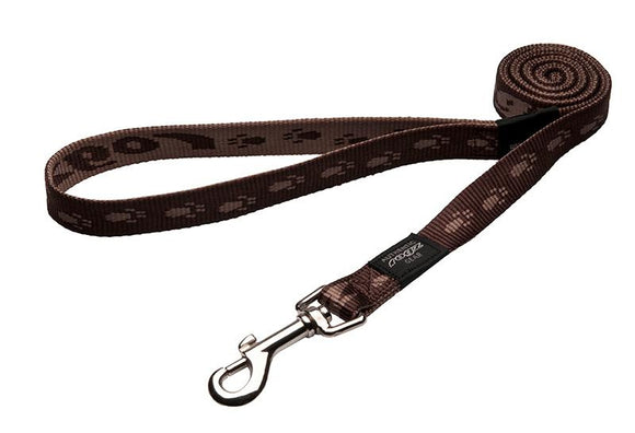 Rogz Alpinist Large 20mm K2 Fixed Dog Lead, Chocolate Rogz Design