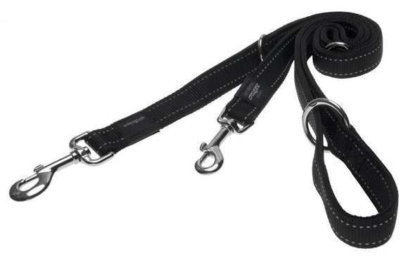 Rogz Utility Extra Large 25mm Lumberjack Multi-Purpose Dog Lead, Black Reflective