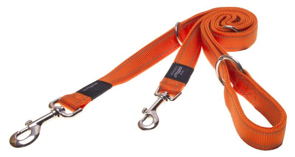Rogz Utility Extra Large 25mm Lumberjack Multi-Purpose Dog Lead, Orange Reflective