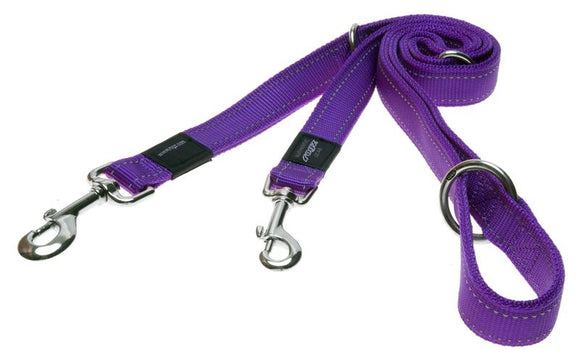 Rogz Utility Extra Large 25mm Lumberjack Multi-Purpose Dog Lead, Purple Reflective