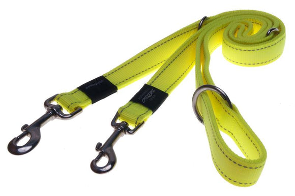 Rogz Utility Extra Large 25mm Lumberjack Multi-Purpose Dog Lead, Dayglo Yellow Reflective