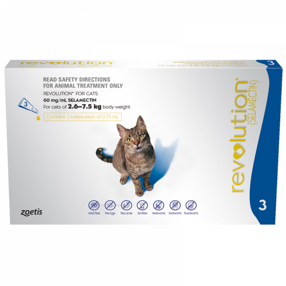 Revolution Spot On Parasite Treatment for Cats 2.6kg - 7.5kg (Blue)