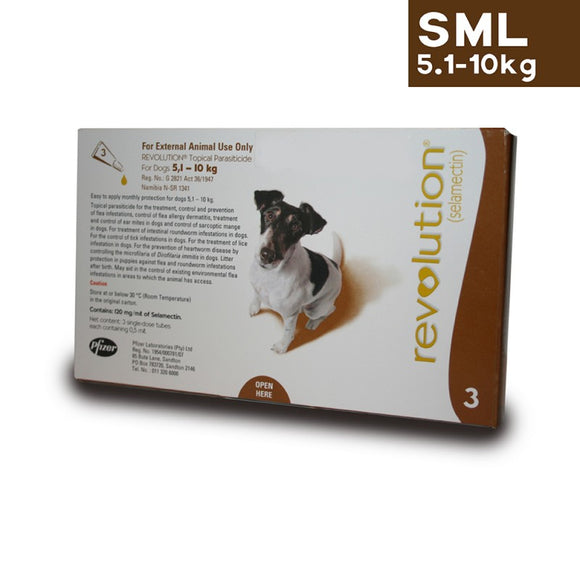 Revolution Spot On Parasite Treatment for Dogs 5.1kg - 10kg (Brown) - Pack of Three