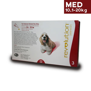Revolution Spot On Parasite Treatment for Dogs 10kg - 20kg (Red) - Pack of Three