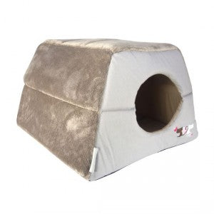 Rogz - Igloo Podz Cat Bed - Cool Grey Heart Tails