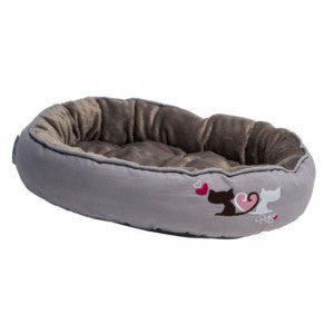 Rogz - Catz Snug Podz Cat Bed - Grey Heart Tails Small (For Kittens)