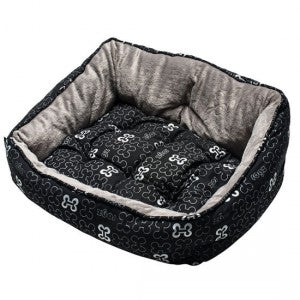 Rogz - Lapz Trendy Podz Lap Dog Beds - Black Bones - Small
