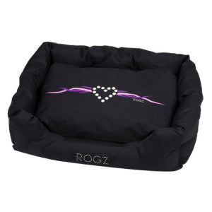 Rogz - Spice Podz Dog Beds - Black White Heart Design - Medium