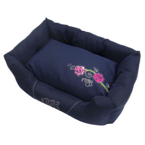 Rogz - Spice Podz Dog Beds - Navy Pink Rose Design - Small