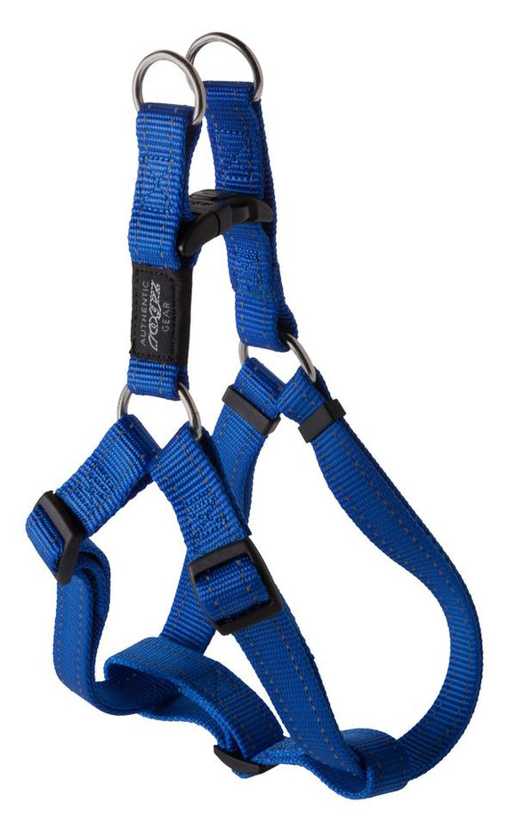 Rogz Utility Large 20mm Fanbelt Step-in Dog Harness, Blue Reflective