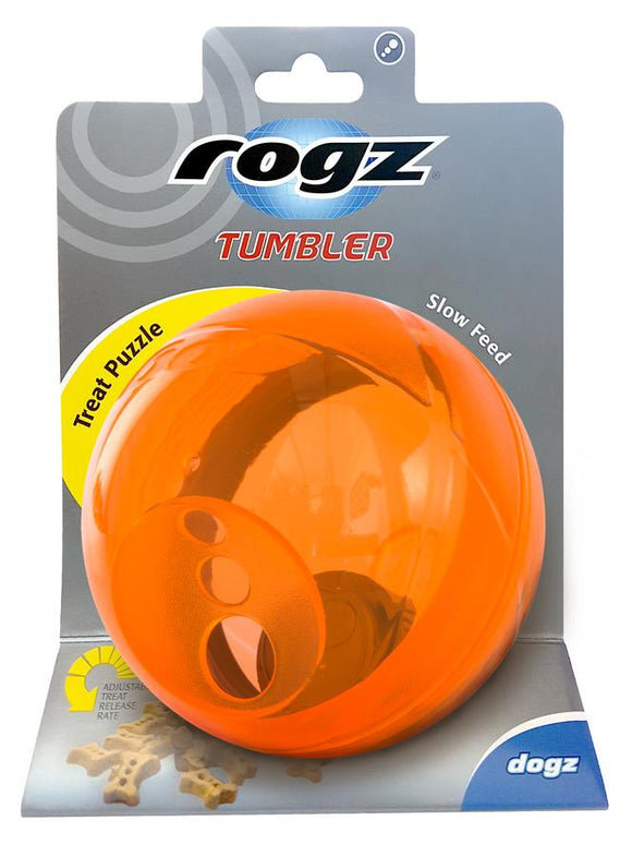 Rogz Tumbler Medium Treat Dispenser, Orange