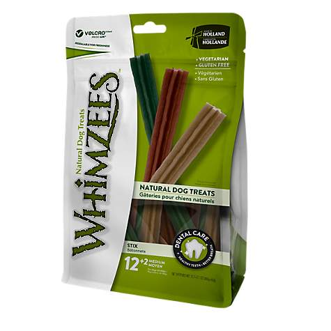 Whimzees Stix Dental Treats - Medium - Value Pack - 12 + 2
