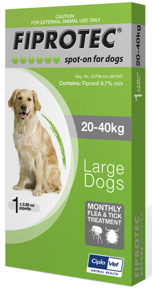 Fiprotec Large Dog 20-40kg Green (Single)