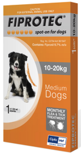Fiprotec Dog 10-20kg Orange (Single)