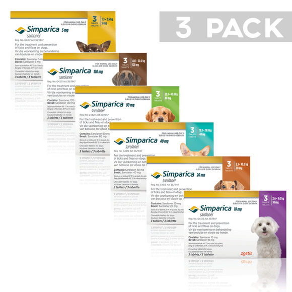 Simparica Chewable Tick and Flea Tablets for Dogs 1.3 - 2.5kg (Yellow - 5mg)