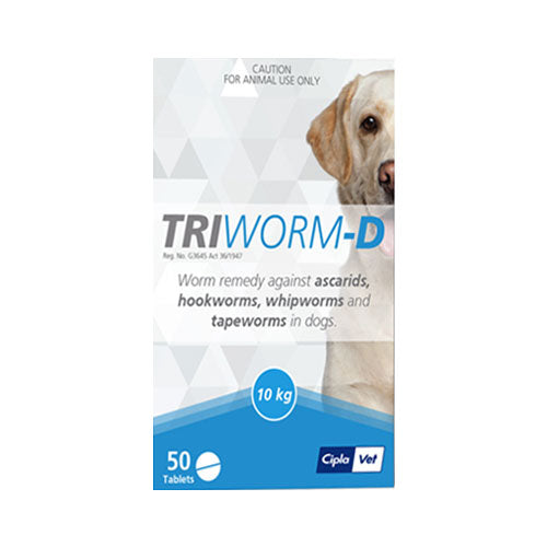 Triworm-D Tub Dewormer for Dogs - 50 Tablets