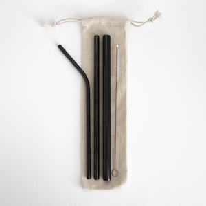 Stainless Steel Straw Set - Black from Ample + Good