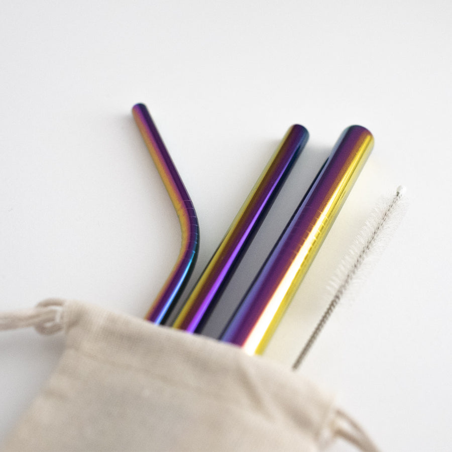 Stainless Steel Straw Set - Rainbow from Ample + Good