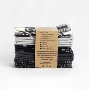 Cloth Wipes (Set of 10) - Monochrome from Cheeks Ahoy