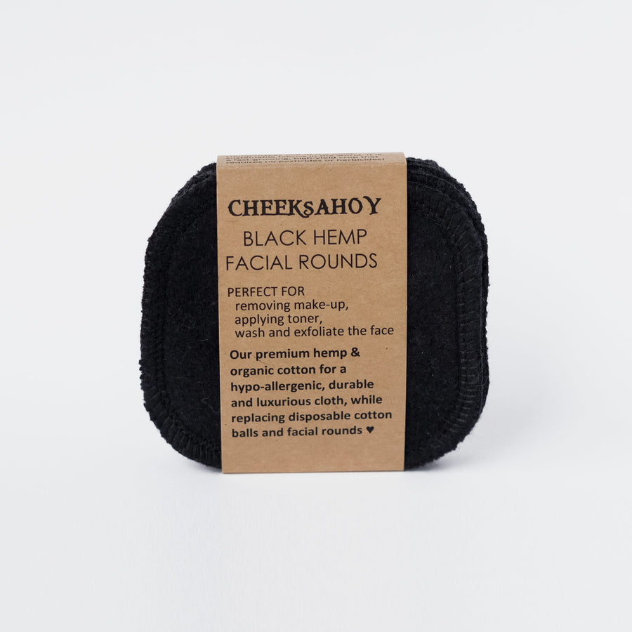 Reusable Hemp Facial Rounds - Black from Cheeks Ahoy