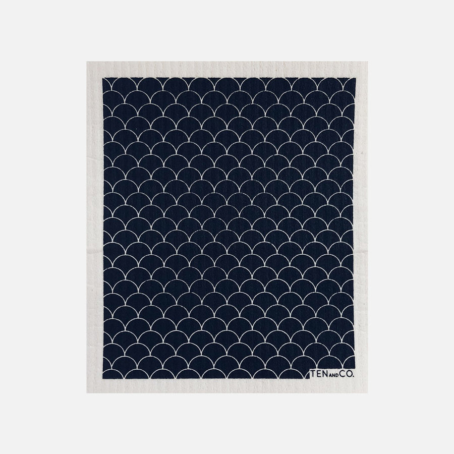 Swedish Sponge Cloth - Black Scallop from Ten & Co.