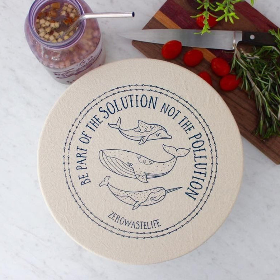 Unwaxed fabric bowl cover - Large - Whale from Your Green Kitchen