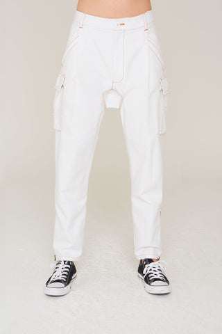 Cooper Cotton cargo pant in white