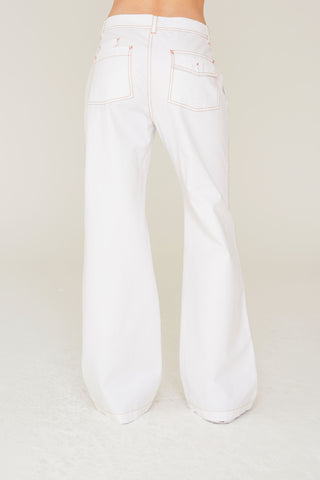 Stefano Wide Leg Cotton Twill Back Pant in White