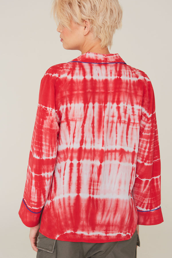 Faris Silk Shirt in Cardinal Red Bohemian Tie Dye