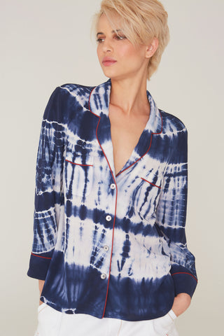 Faris Silk Shirt in Midnight Bohemian Tie Dye