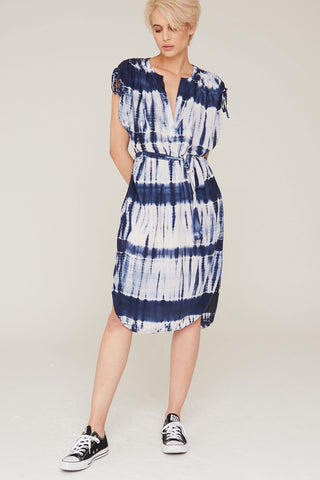 Dakota Silk Dress in Midnight Tie Dye