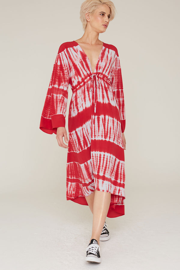Tahlia Silk Dress in Cardinal Red Tie Dye