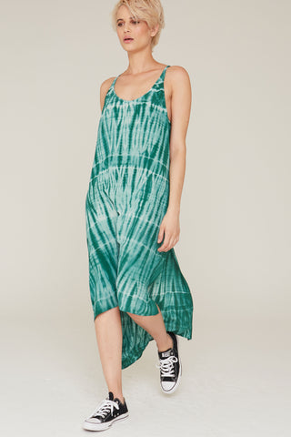 Imogen Silk Dress in Eucalyptus Tie Dye