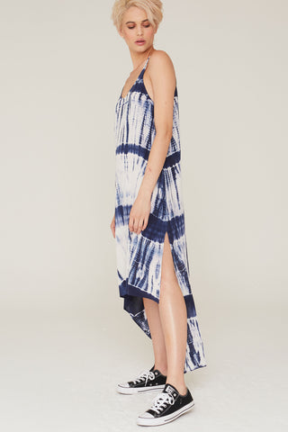 Imogen Silk Dress in Midnight tie dye