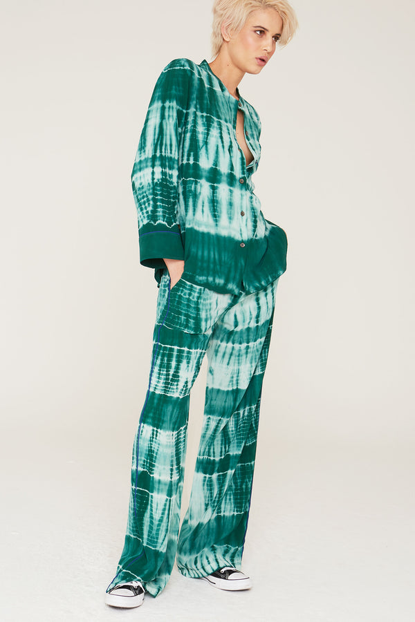 Abel Silk Pants in Eucalyptus Tie Dye