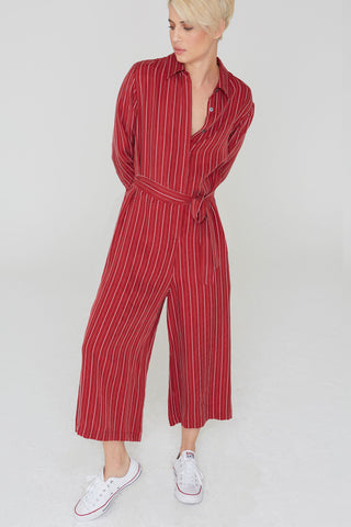 Max Striped Jumpsuit in Clay Cupro