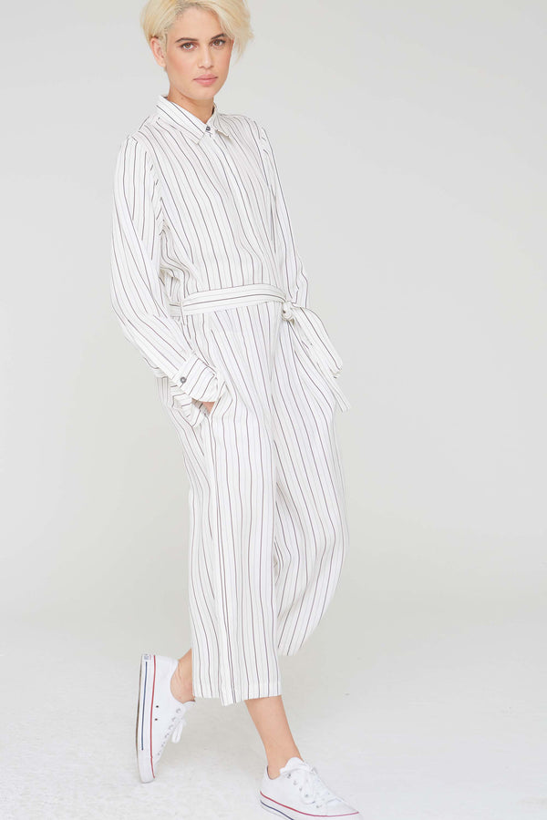 Max Striped Jumpsuit in White Cupro