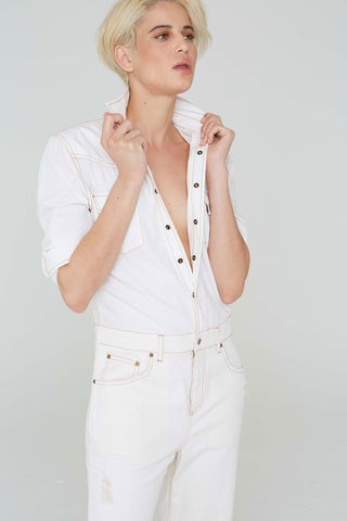 Reed Jumpsuit in White Denim