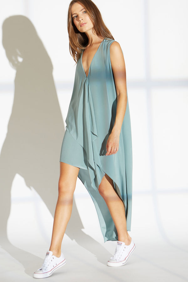 Edith Silk Dress in Sea Foam