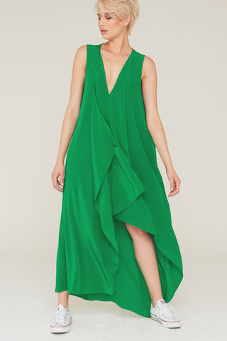 Edith Silk Dress in Kelly Green