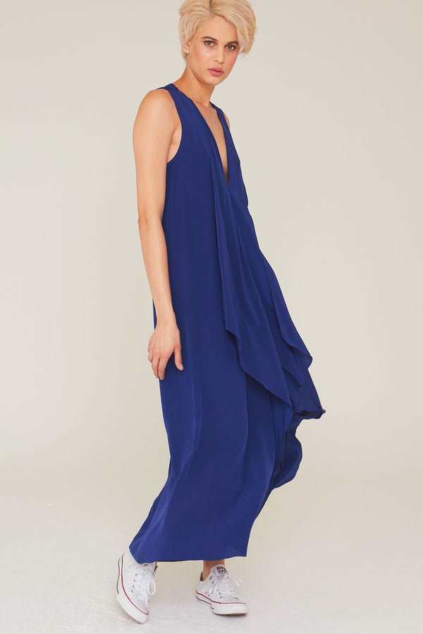 Edith Silk Dress in Navy