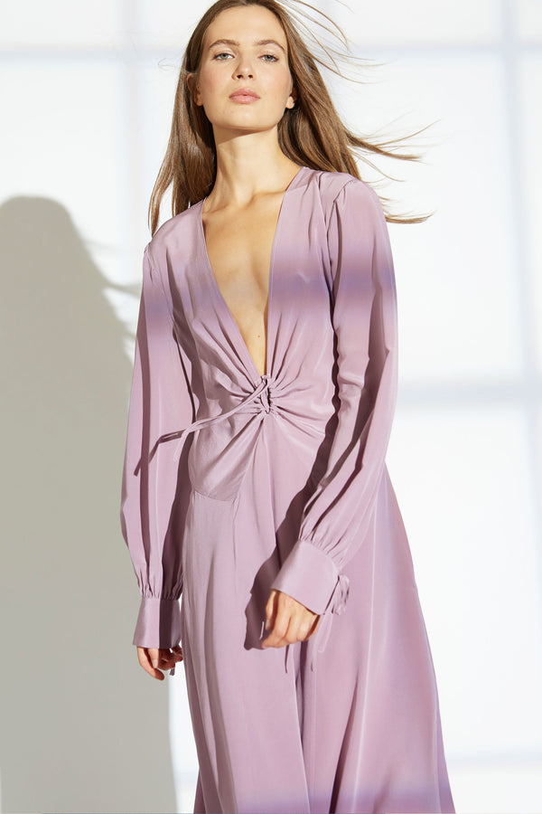 Jewel silk gown in mauve