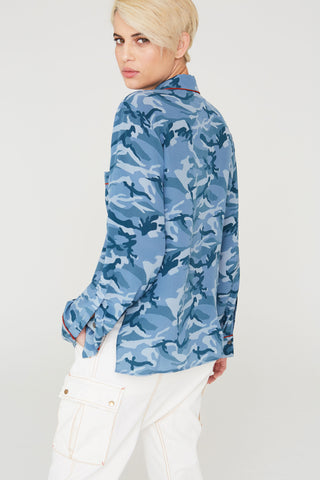 Farah Silk Shirt In Blue Camouflage