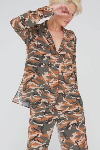 Farah Silk Shirt in Olive Camouflage