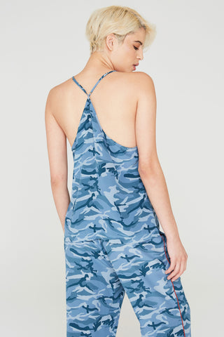 Cora Silk Camisole in Blue Camouflage Print