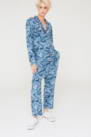 Musa Silk Harem Pants in Blue Camouflage