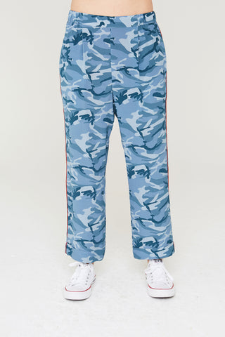 Kaden Silk Pants in Blue Camouflage Print