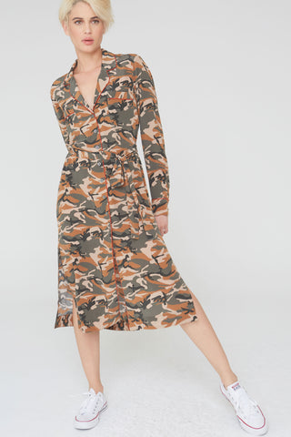 Zoey Silk Dress in Olive Camouflage Print