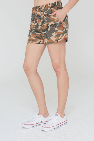 Diego Silk Shorts in Olive Camouflage Print